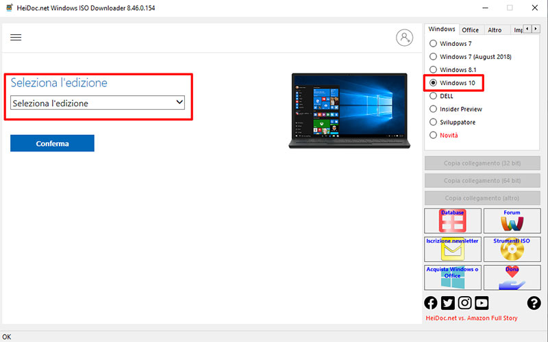 Selezionare la versione di windows che preferite